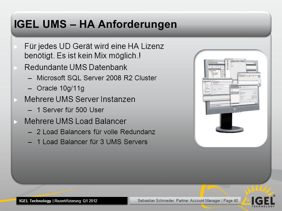 IGEL UMS – HA Anforderungen