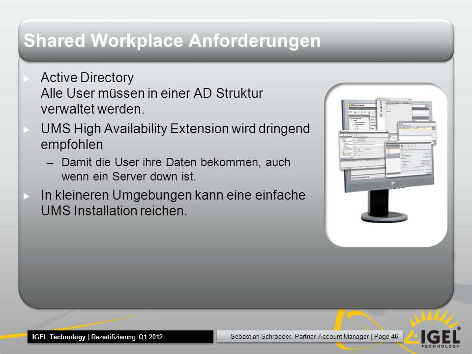 Shared Workplace Anforderungen