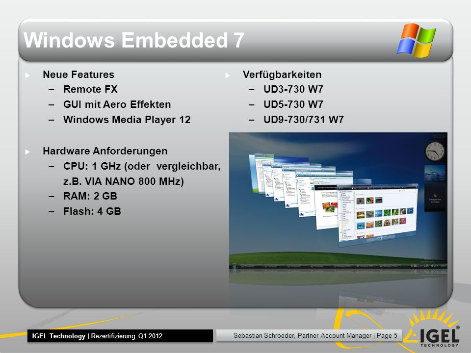 Windows Embedded 7 Neue Features Remote FX GUI mit Aero Effekten