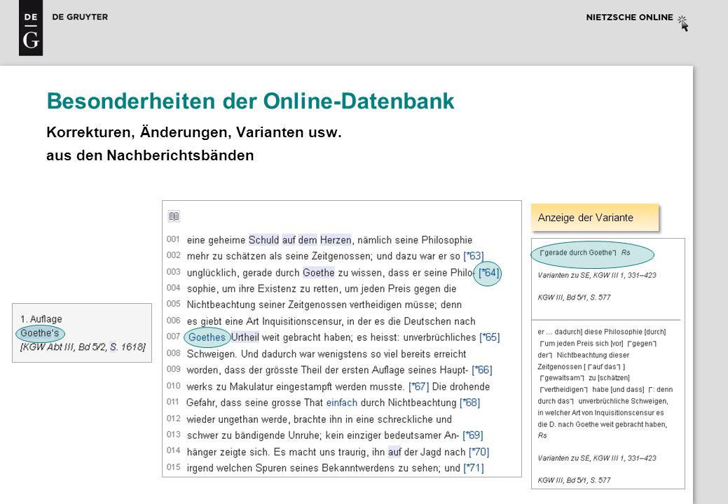 Besonderheiten der Online-Datenbank