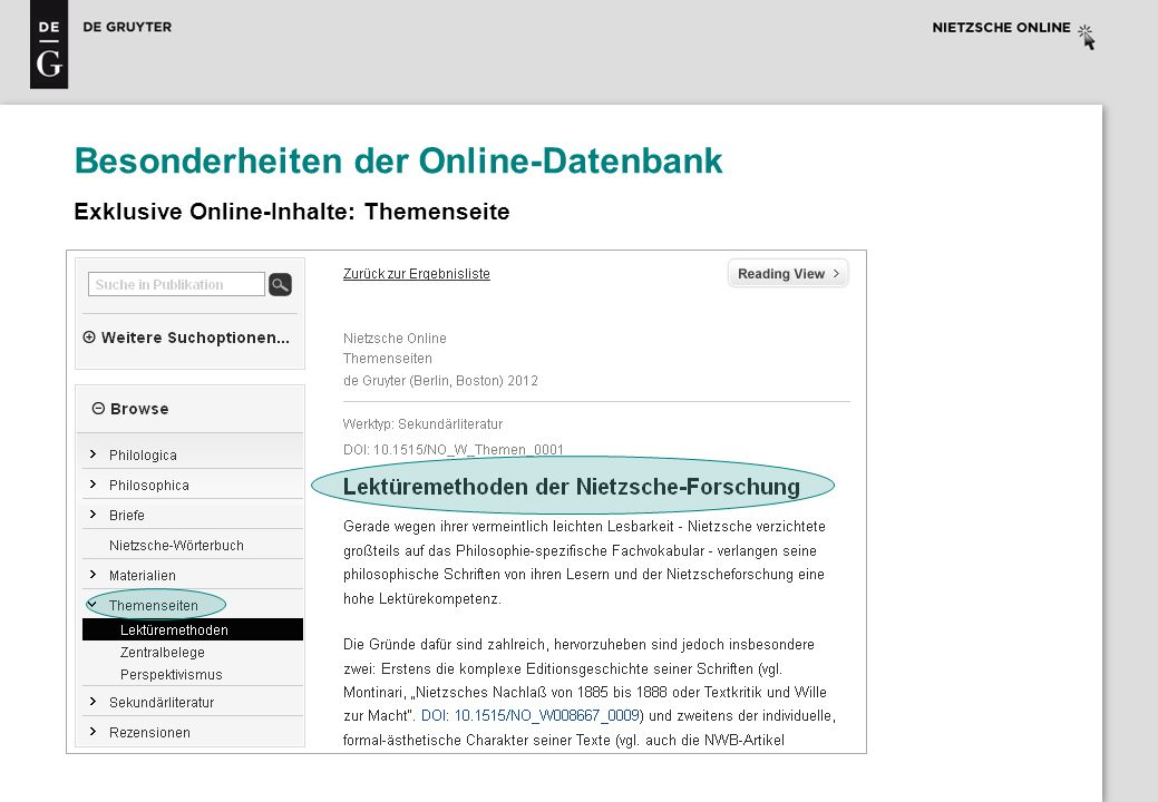 Besonderheiten der Online-Datenbank