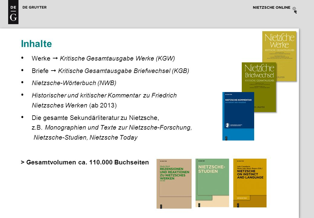 Inhalte Werke  Kritische Gesamtausgabe Werke (KGW)