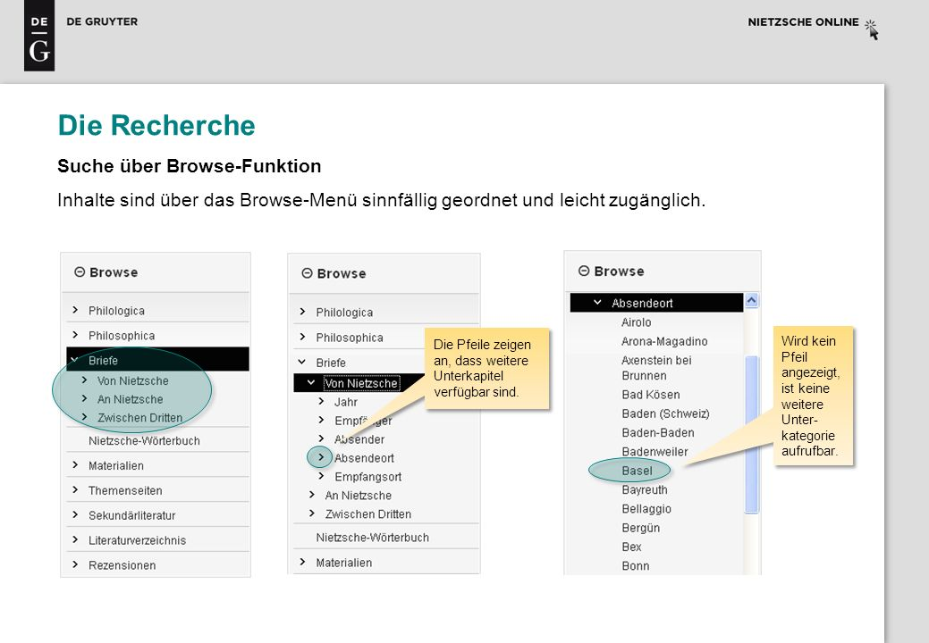 Die Recherche Suche über Browse-Funktion