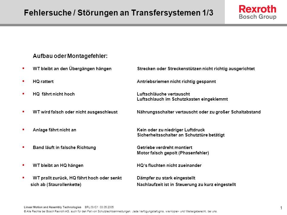 Fehlersuche / Störungen an Transfersystemen 1/3