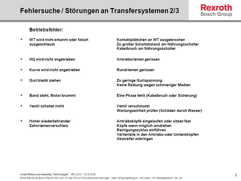 Fehlersuche / Störungen an Transfersystemen 2/3