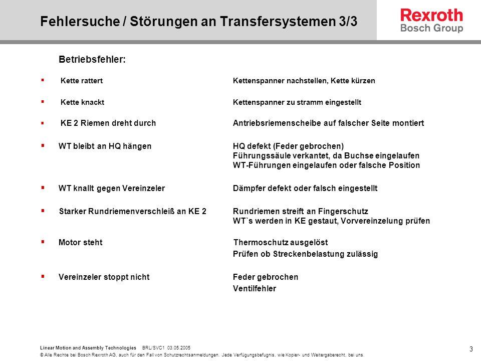 Fehlersuche / Störungen an Transfersystemen 3/3