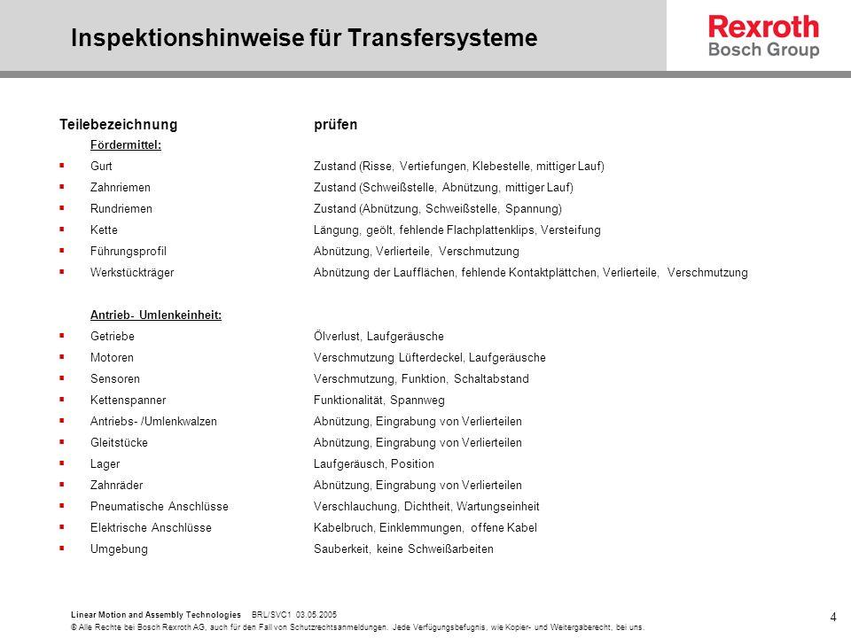 Inspektionshinweise für Transfersysteme
