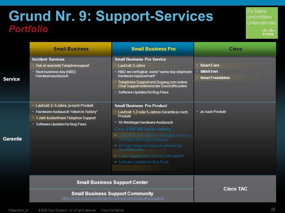 Grund Nr. 9: Support-Services Portfolio