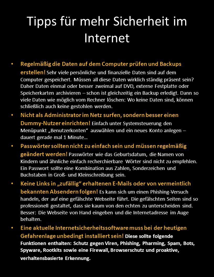 Tipps für mehr Sicherheit im Internet