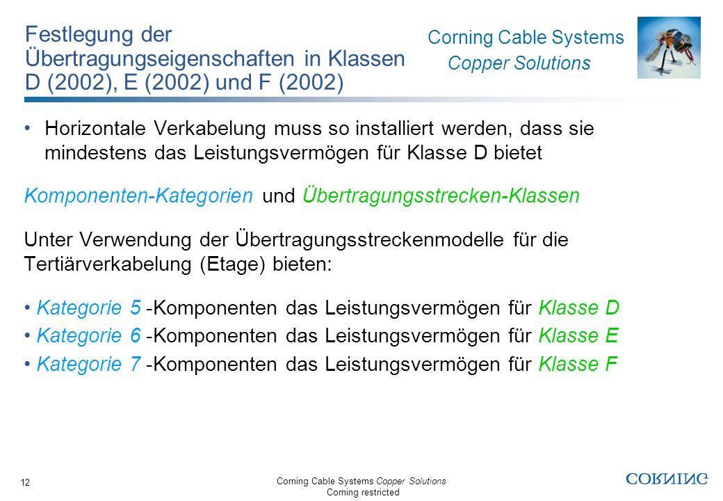 Festlegung der Übertragungseigenschaften in Klassen D (2002), E (2002) und F (2002)