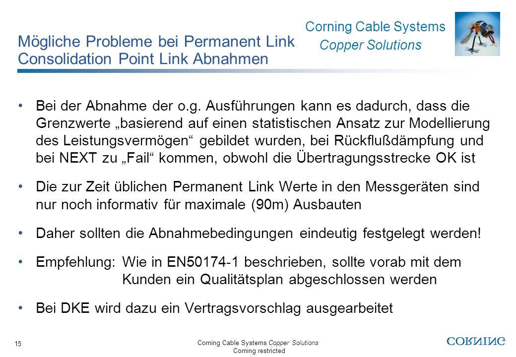 Mögliche Probleme bei Permanent Link Consolidation Point Link Abnahmen