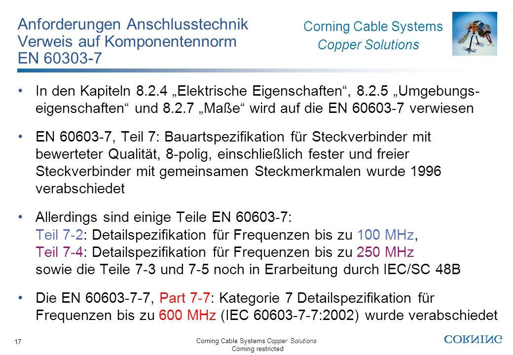 Anforderungen Anschlusstechnik Verweis auf Komponentennorm EN 60303-7
