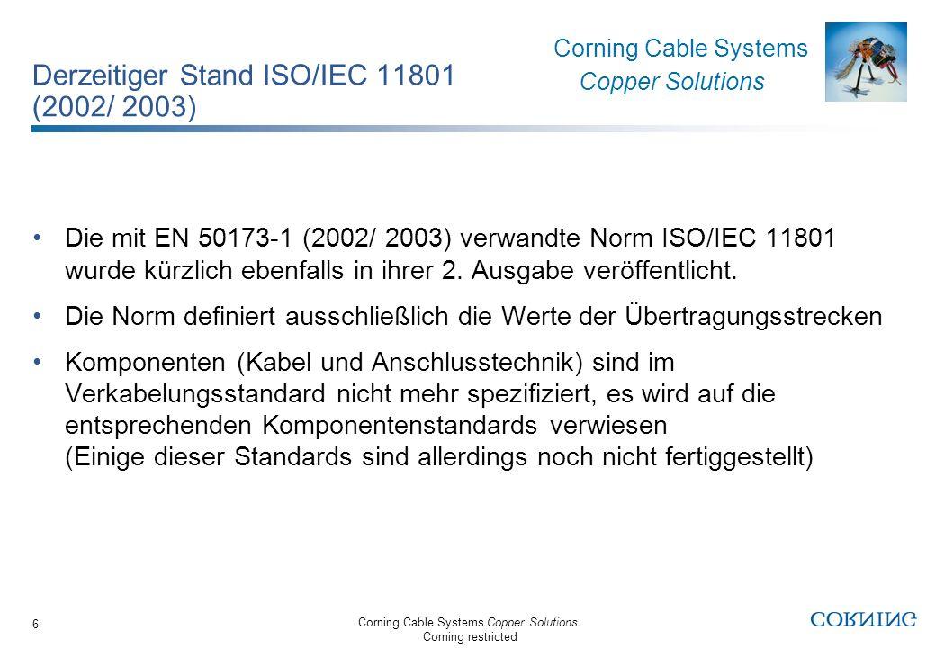 Derzeitiger Stand ISO/IEC 11801 (2002/ 2003)