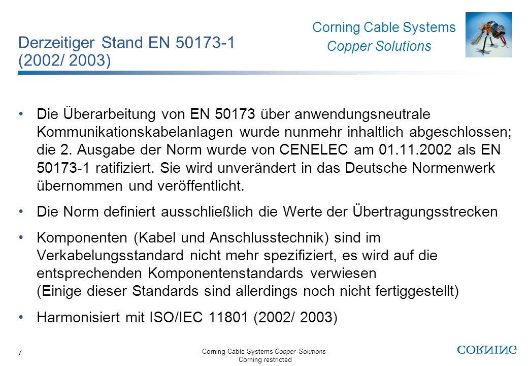 Derzeitiger Stand EN 50173-1 (2002/ 2003)
