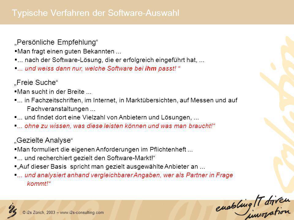 Typische Verfahren der Software-Auswahl