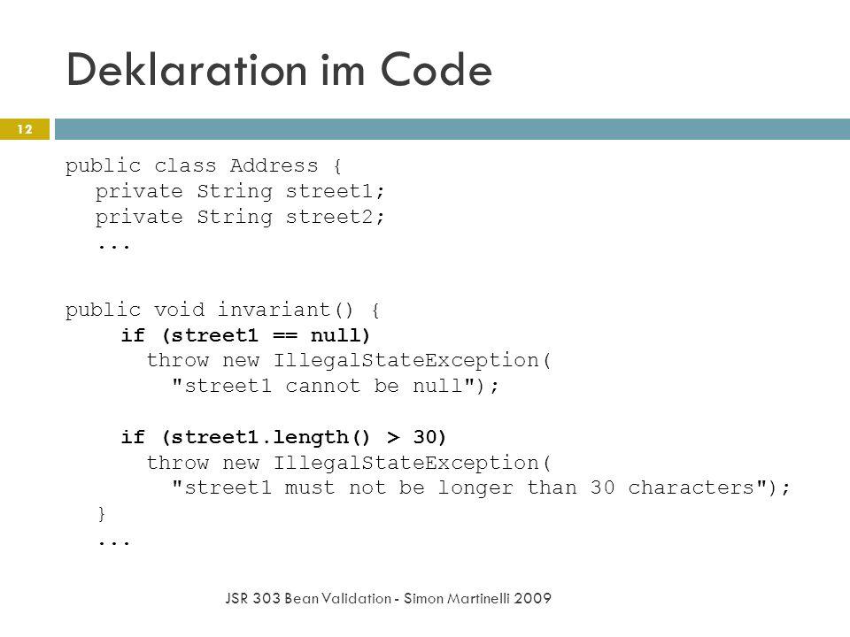 Deklaration im Code