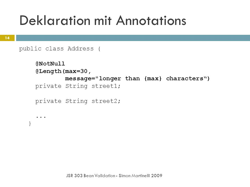 Deklaration mit Annotations