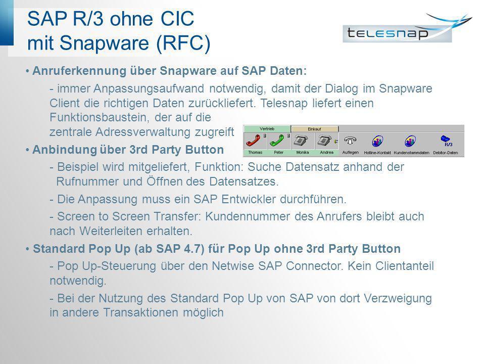 SAP R/3 ohne CIC mit Snapware (RFC)