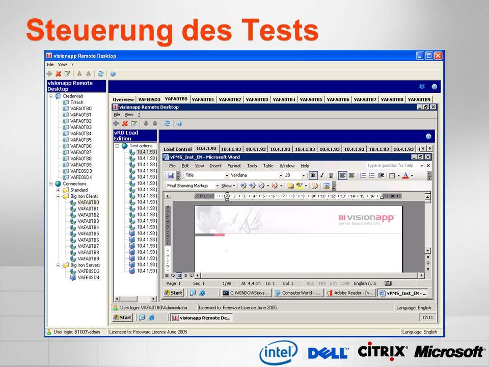 Steuerung des Tests