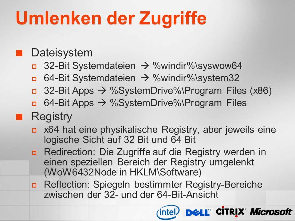 Umlenken der Zugriffe Dateisystem Registry