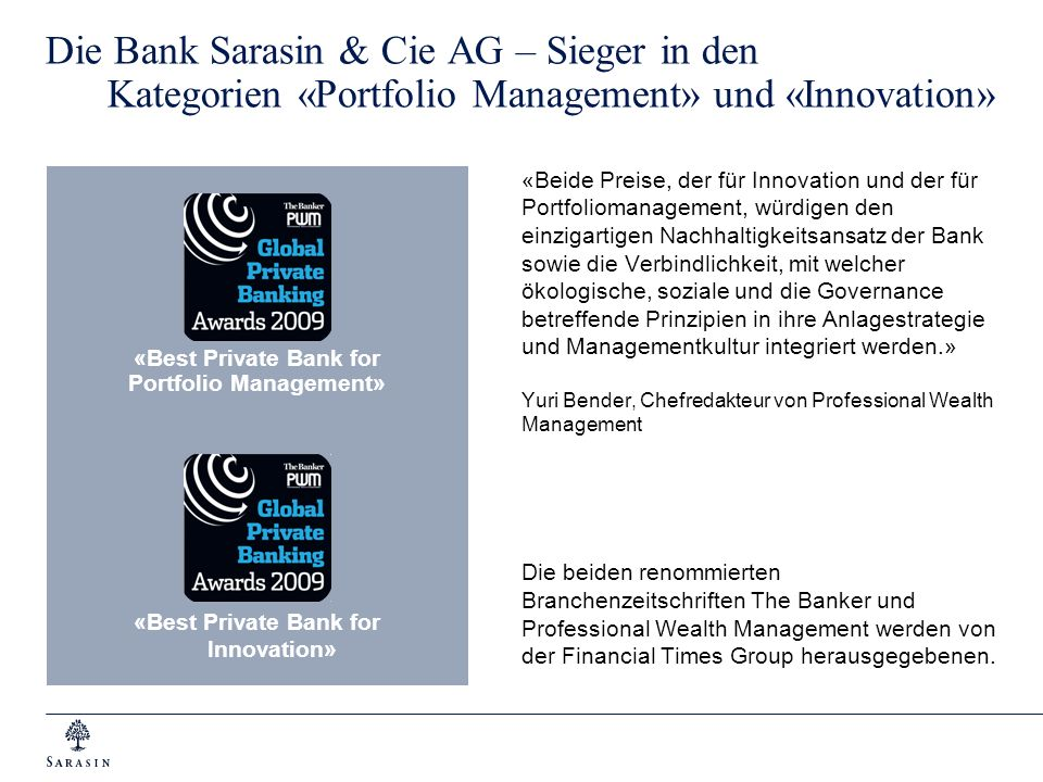 Die Bank Sarasin & Cie AG – Sieger in den Kategorien «Portfolio Management» und «Innovation»