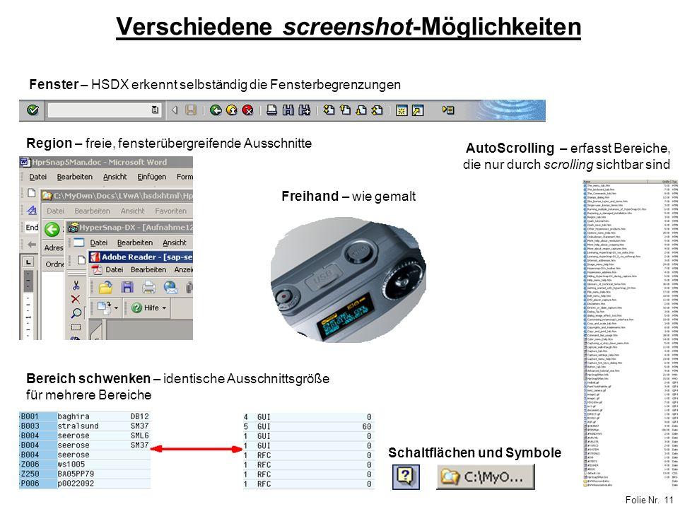 Verschiedene screenshot-Möglichkeiten
