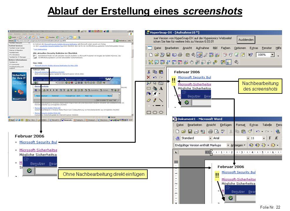 Ablauf der Erstellung eines screenshots