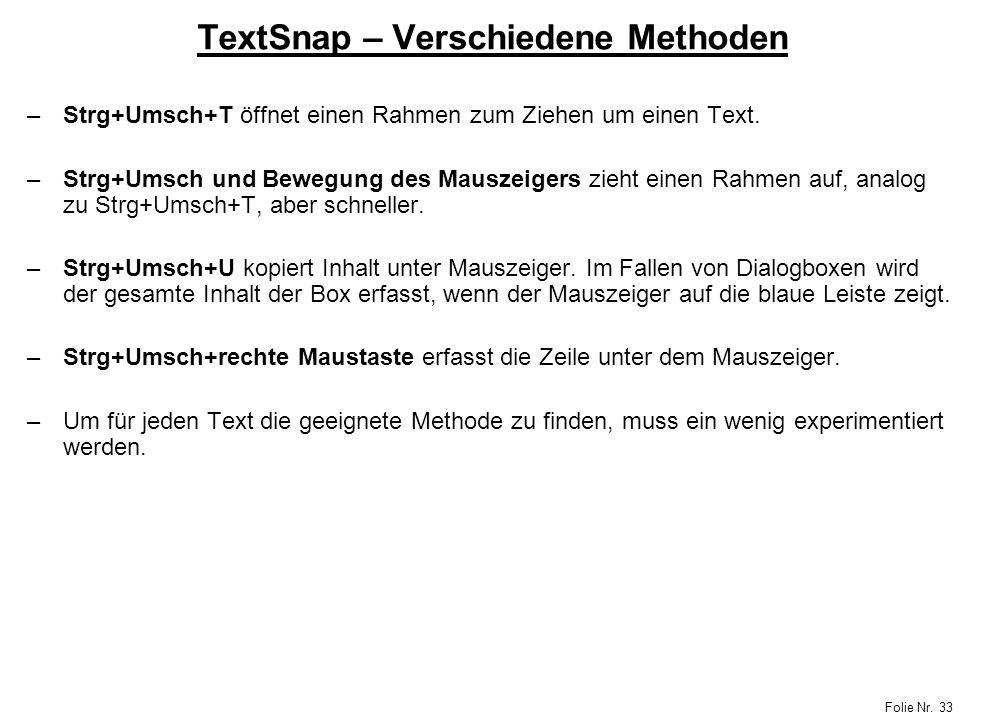TextSnap – Verschiedene Methoden