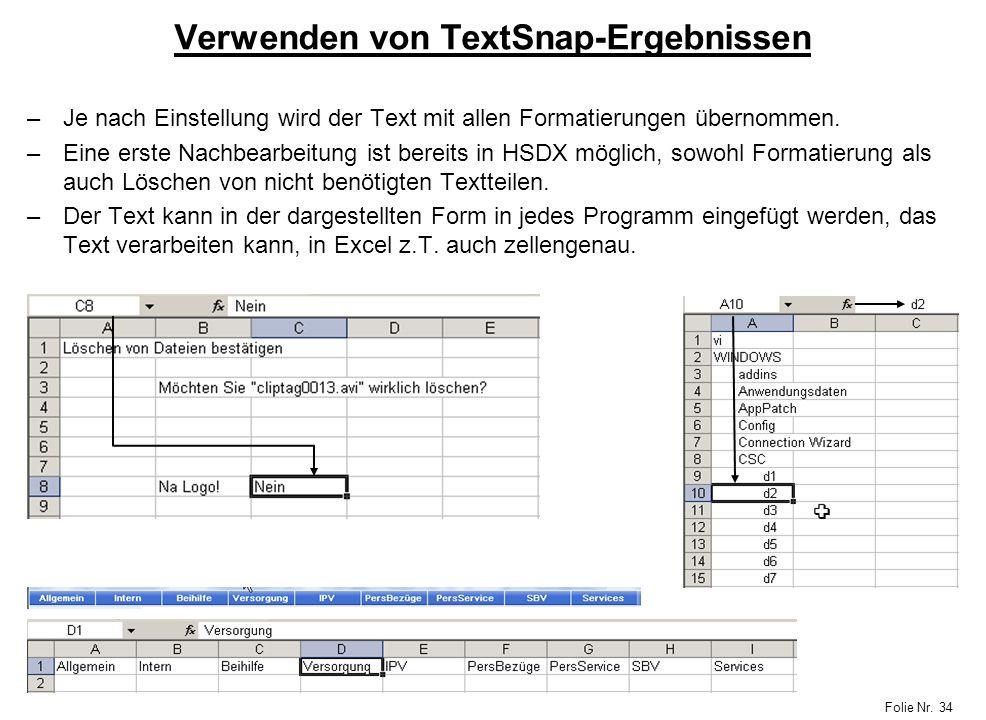 Verwenden von TextSnap-Ergebnissen
