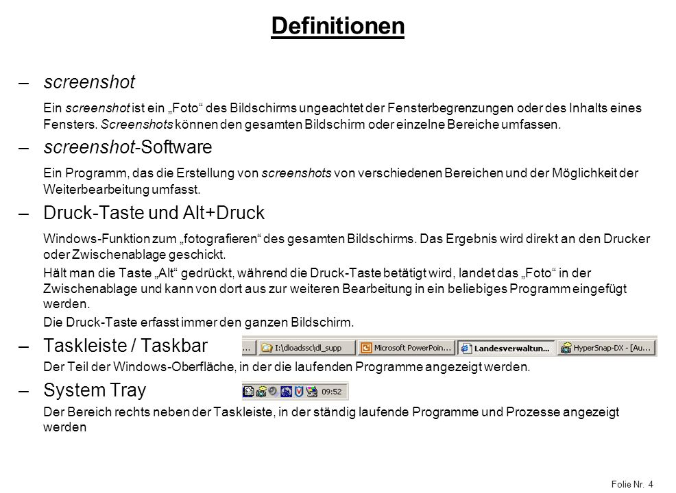Definitionen screenshot screenshot-Software Druck-Taste und Alt+Druck