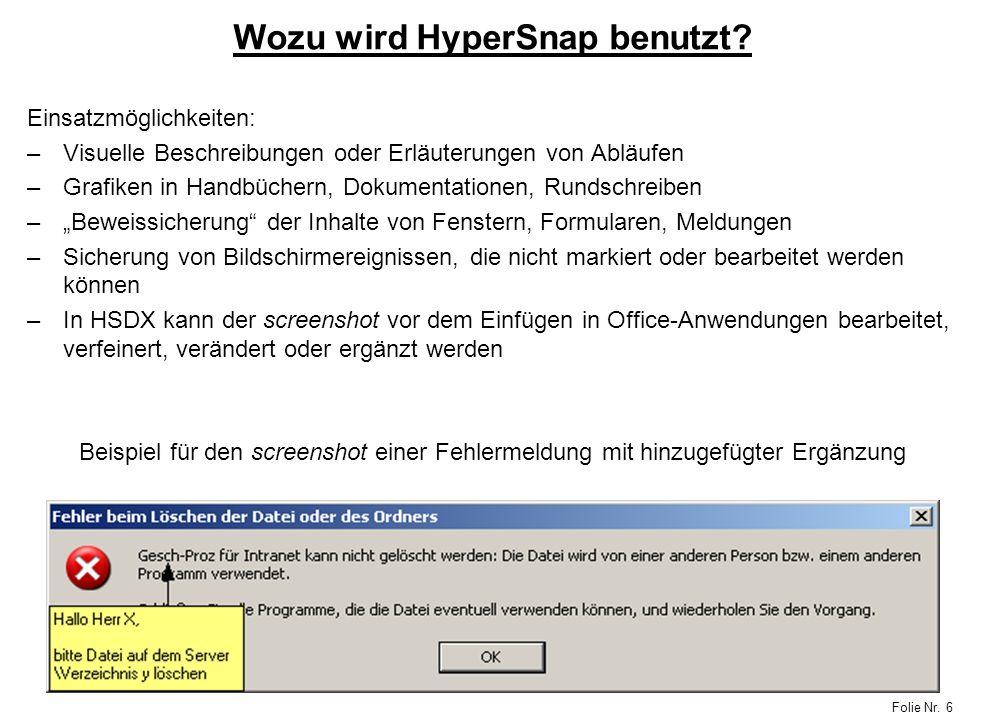 Wozu wird HyperSnap benutzt