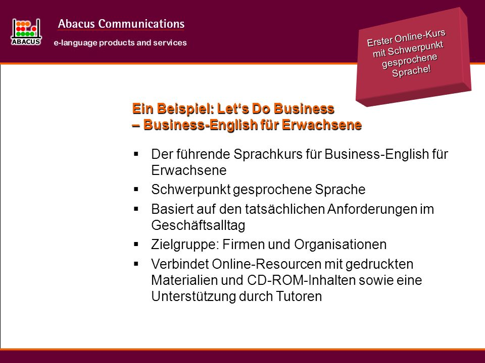 Ein Beispiel: Let's Do Business – Business-English für Erwachsene