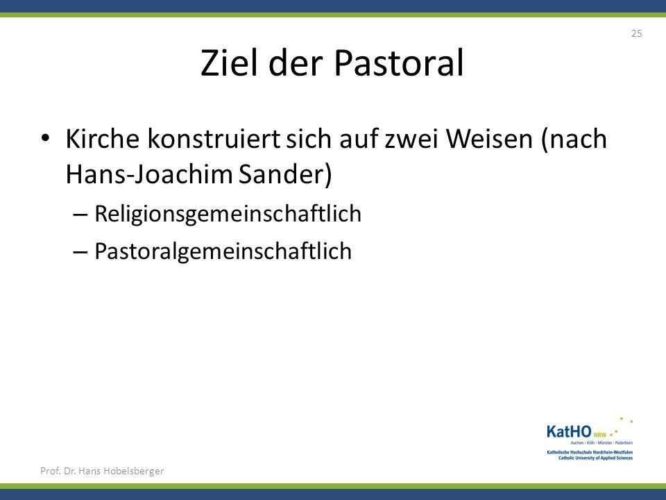 Ziel der Pastoral Kirche konstruiert sich auf zwei Weisen (nach Hans-Joachim Sander) Religionsgemeinschaftlich.