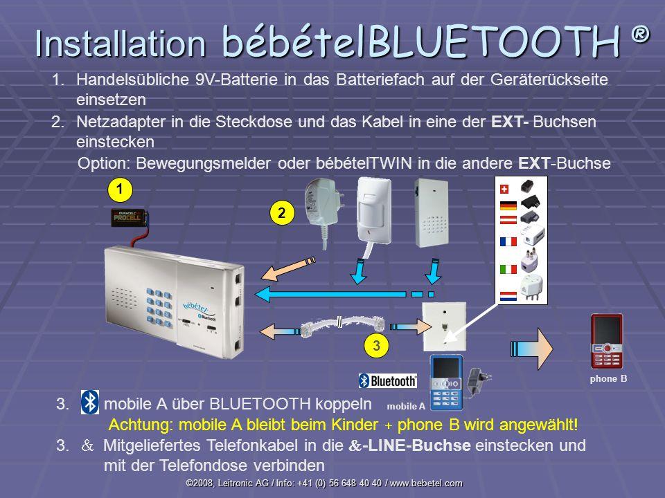 Installation bébételBLUETOOTH ®