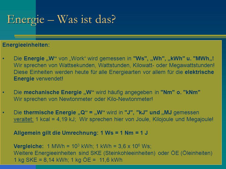 Energie – Was ist das Energieeinheiten: