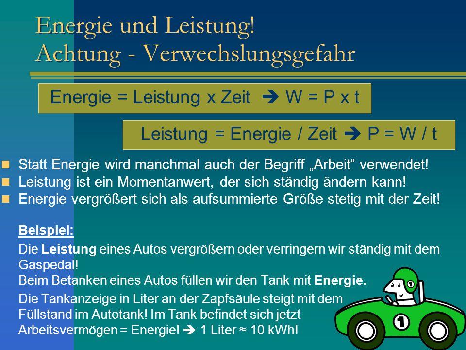 Energie und Leistung! Achtung - Verwechslungsgefahr