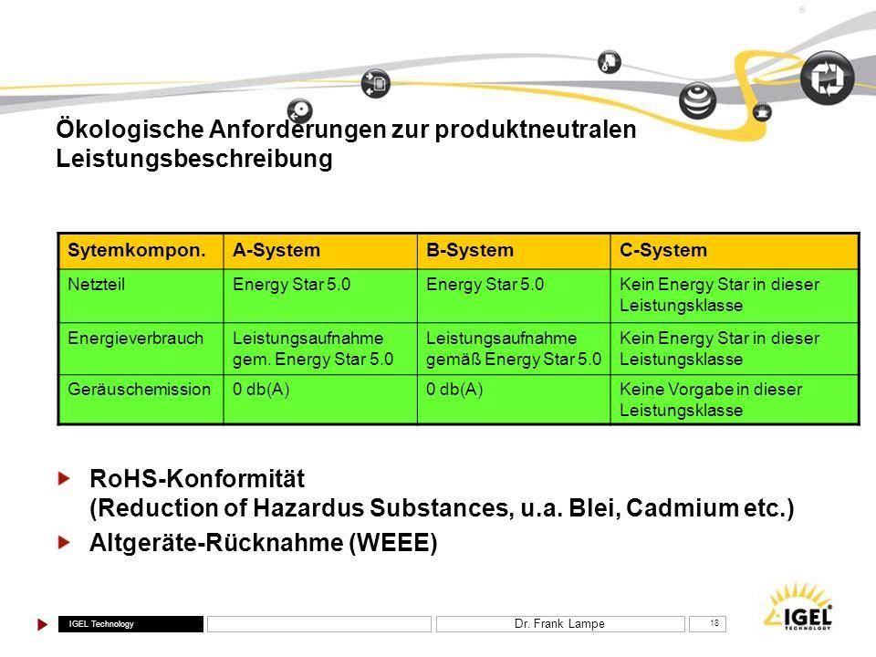 Ökologische Anforderungen zur produktneutralen Leistungsbeschreibung