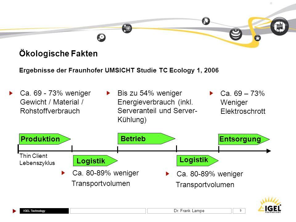 Ökologische Fakten Ergebnisse der Fraunhofer UMSICHT Studie TC Ecology 1, 2006.