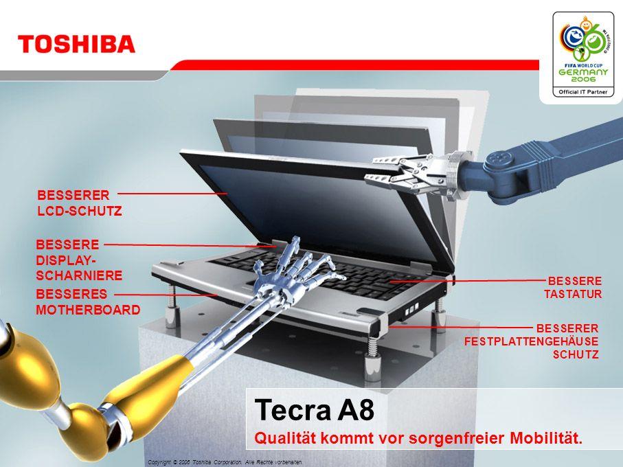 Tecra A8 Qualität kommt vor sorgenfreier Mobilität.