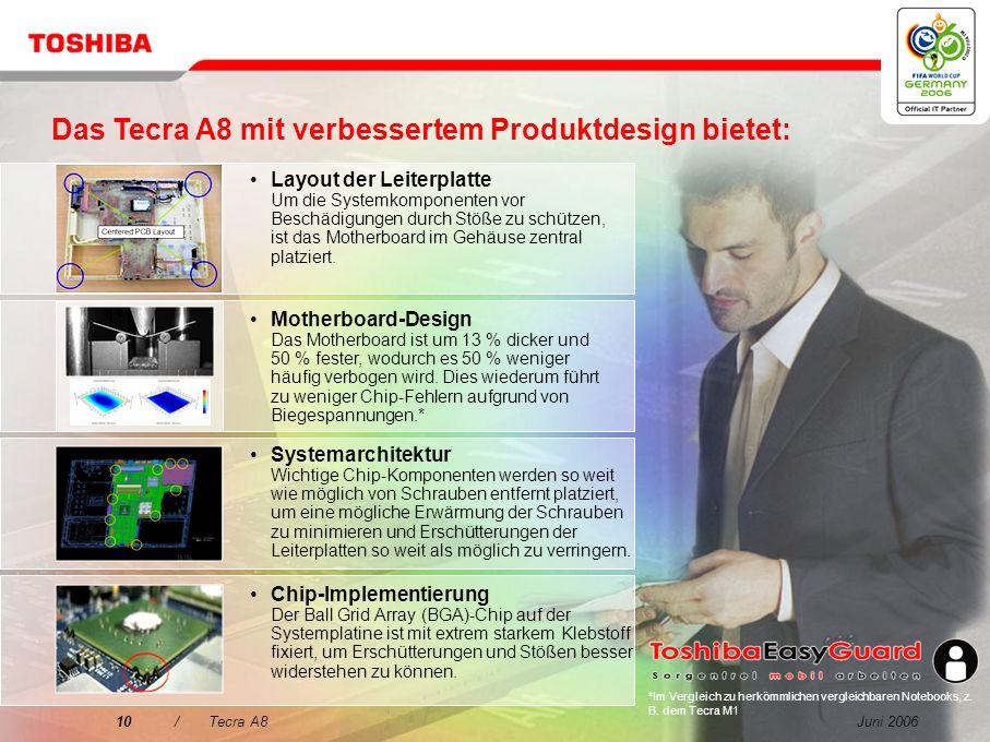 Das Tecra A8 mit verbessertem Produktdesign bietet:
