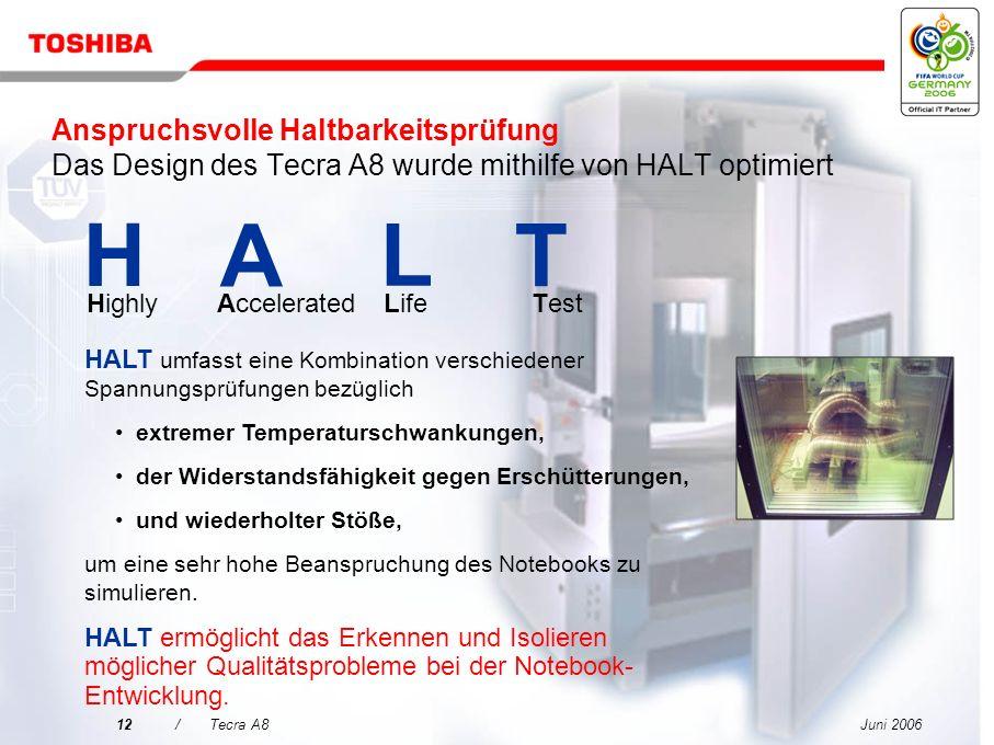 Anspruchsvolle Haltbarkeitsprüfung Das Design des Tecra A8 wurde mithilfe von HALT optimiert