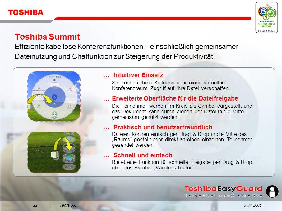 Toshiba Summit Effiziente kabellose Konferenzfunktionen – einschließlich gemeinsamer Dateinutzung und Chatfunktion zur Steigerung der Produktivität.