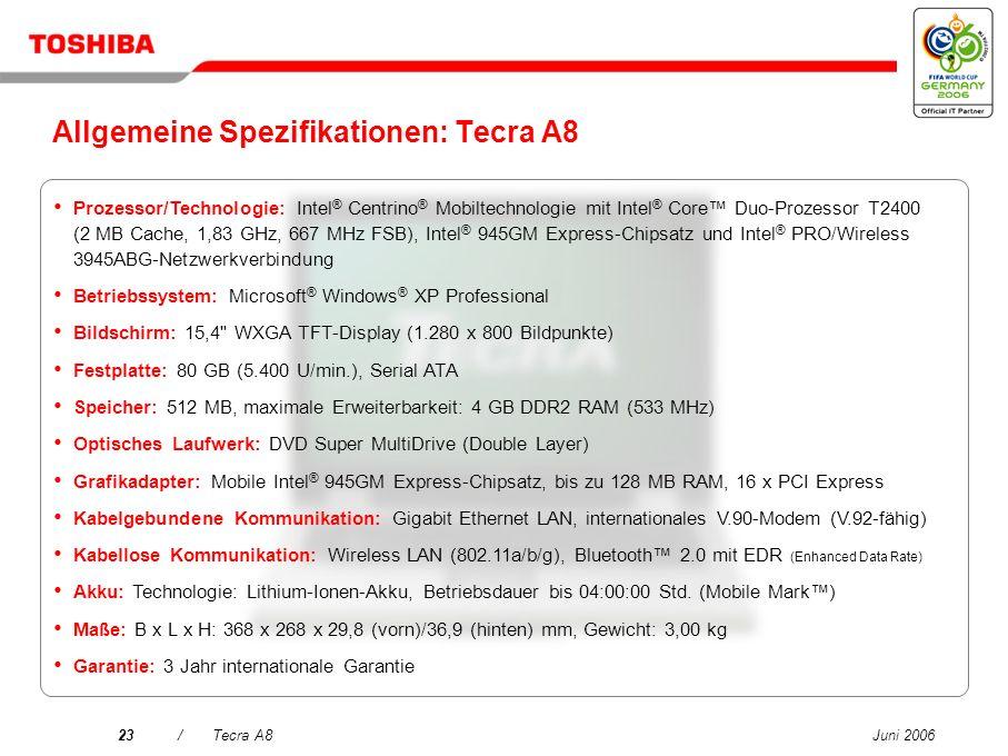 Allgemeine Spezifikationen: Tecra A8