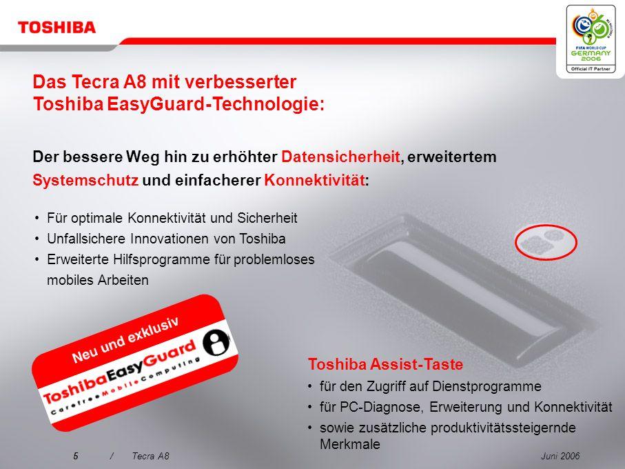 Das Tecra A8 mit verbesserter Toshiba EasyGuard-Technologie:
