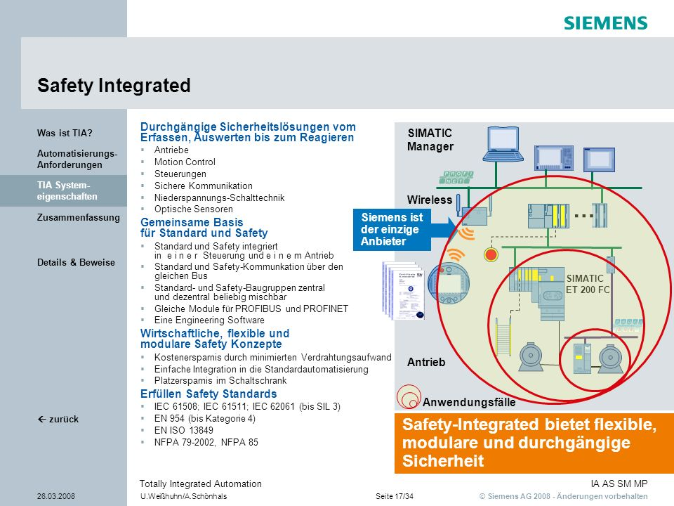 Safety Integrated Was ist TIA Durchgängige Sicherheitslösungen vom Erfassen, Auswerten bis zum Reagieren.