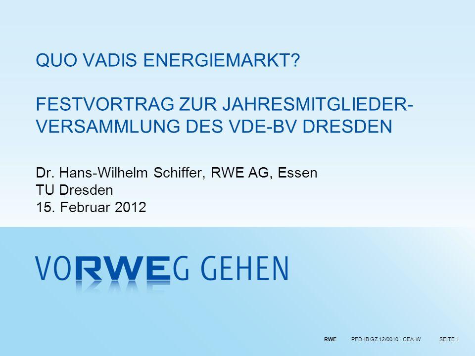 Dr. Hans-Wilhelm Schiffer, RWE AG, Essen TU Dresden 15. Februar 2012