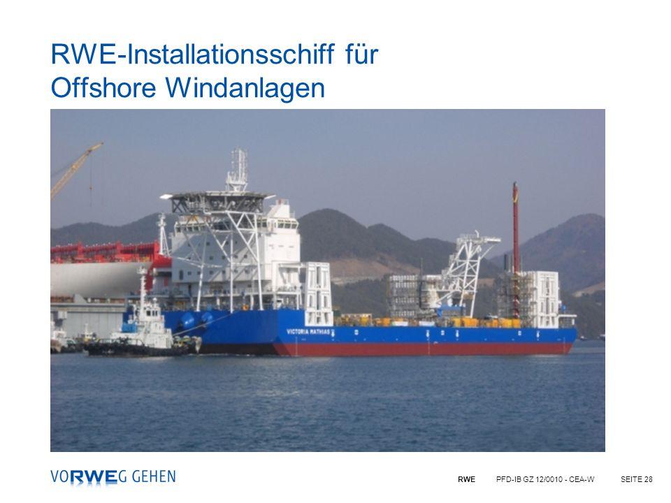 RWE-Installationsschiff für Offshore Windanlagen