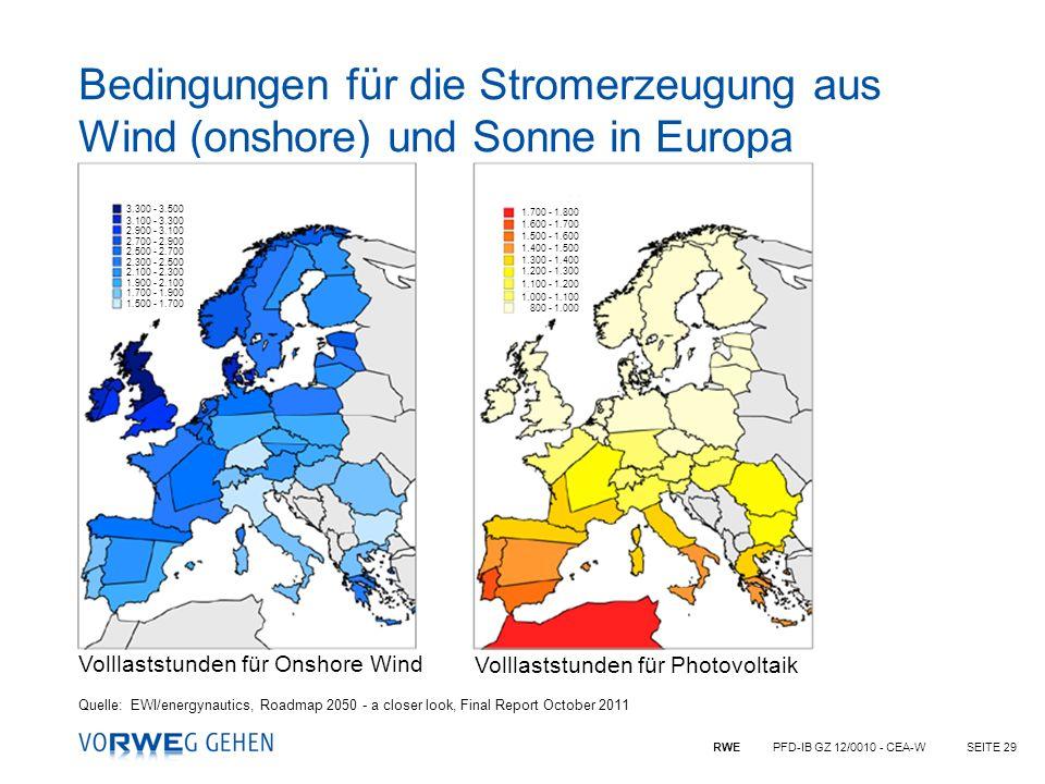 Bedingungen für die Stromerzeugung aus Wind (onshore) und Sonne in Europa