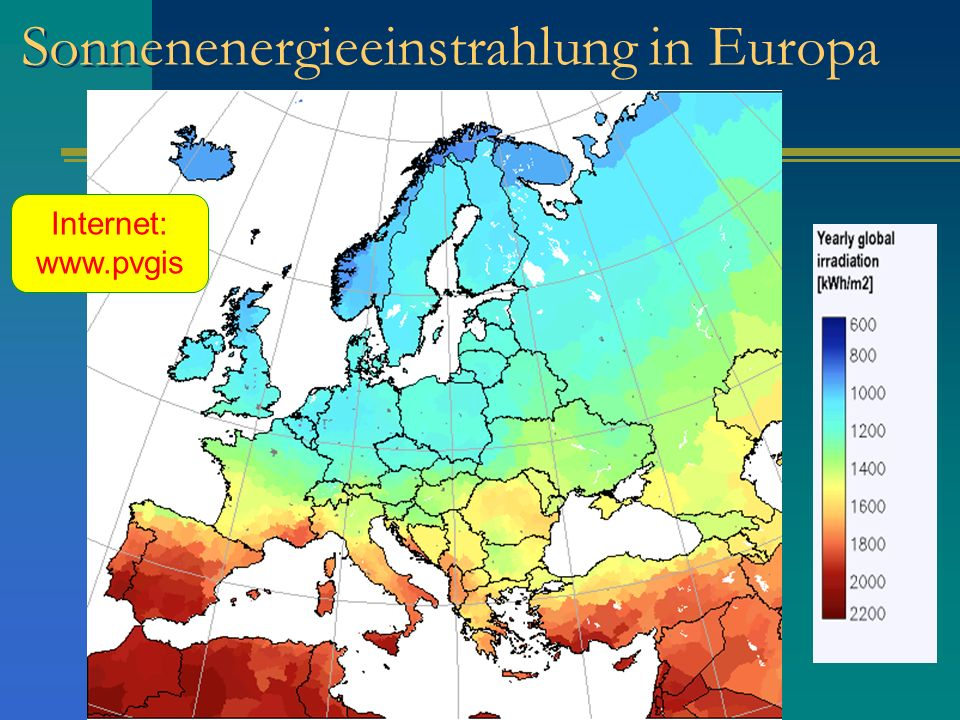 Sonnenenergieeinstrahlung in Europa