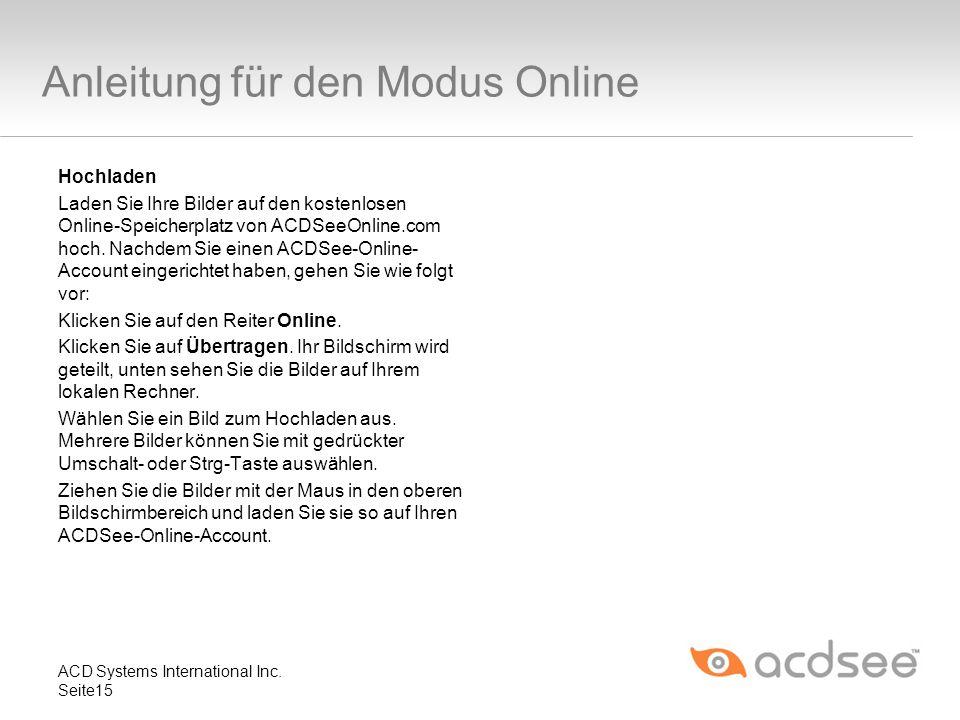 Anleitung für den Modus Online